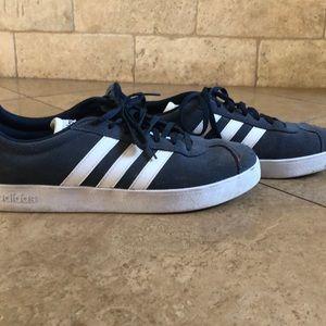 adidas Shoes - Men's navy adidas with 3 white stripes